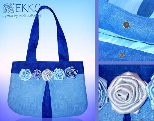 """Женские сумки ручной работы. Ярмарка Мастеров - ручная работа. Купить Сумка """"Голубые розы"""". Handmade. Синий, сумка с цветами"""