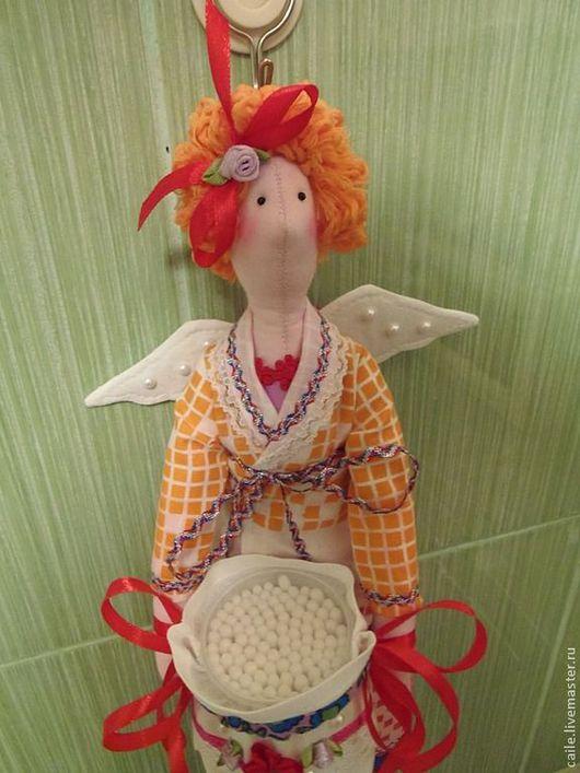 Ванная комната ручной работы. Ярмарка Мастеров - ручная работа. Купить Хранительница ватных дисков и палочек-2. Ангел Тильда. Handmade.