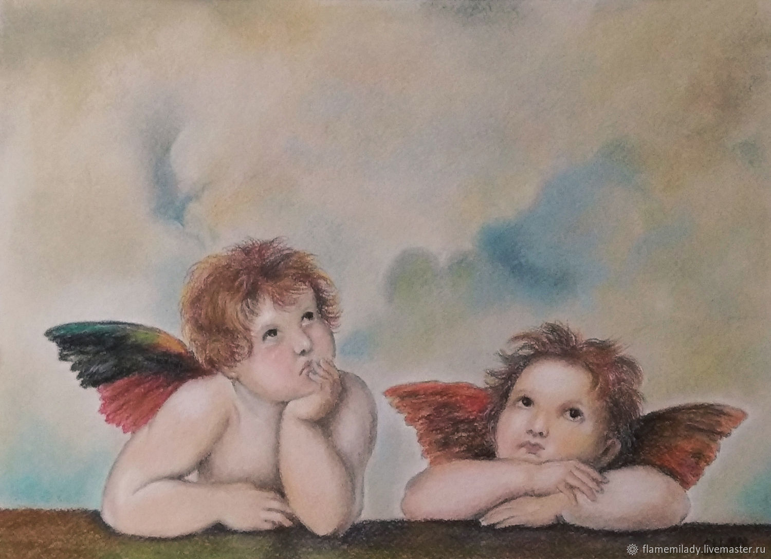 Painting with angels - Angels of the Sistine Madonna-pastel painting, Pictures, Ekaterinburg,  Фото №1