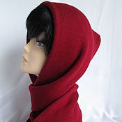 Аксессуары handmade. Livemaster - original item Hood with long scarf Merino Bordeaux. Handmade.