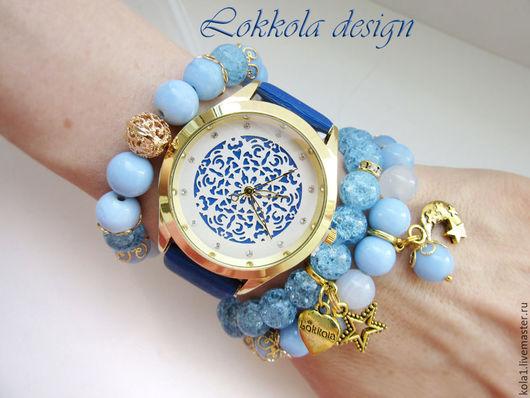 """Браслеты ручной работы. Ярмарка Мастеров - ручная работа. Купить Часы-браслеты """"Летняя ночь"""". Handmade. Голубой, браслет, браслеты"""