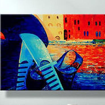 """Картины и панно ручной работы. Ярмарка Мастеров - ручная работа Картина масло холст """"Венеция и гондолы"""" 50/70 картина маслом. Handmade."""