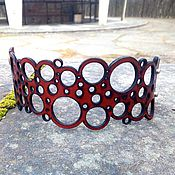 """Браслет из бусин ручной работы. Ярмарка Мастеров - ручная работа Браслет кожаный BRC-02 """"Круги 1"""". Handmade."""