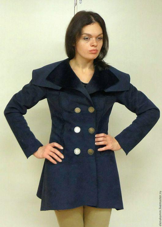 Верхняя одежда ручной работы. Ярмарка Мастеров - ручная работа. Купить Пальто - тонкая дубленка Синяя. Handmade. Тёмно-синий