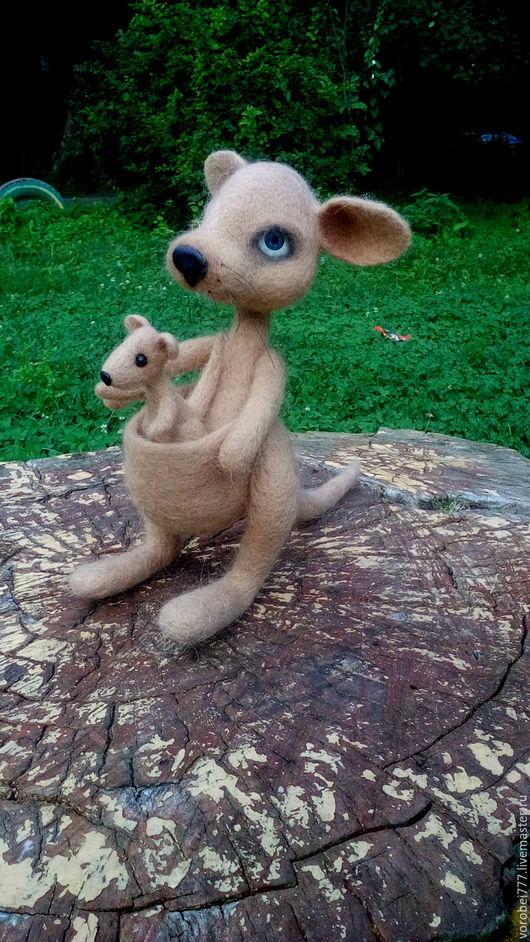 Куклы и игрушки ручной работы. Ярмарка Мастеров - ручная работа. Купить Кенгуру с кенгурёнком. Handmade. Комбинированный, прикольная игрушка