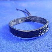 Bead bracelet handmade. Livemaster - original item Thin leather bracelet with embossed Points. Handmade.