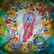 """Аксессуары ручной работы. Ярмарка Мастеров - ручная работа Шелковый платок """"Индейка"""". Handmade."""