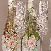 """Свадебный салон ручной работы. Ярмарка Мастеров - ручная работа Декор свадебных бутылок """"Фантазия"""". Handmade."""