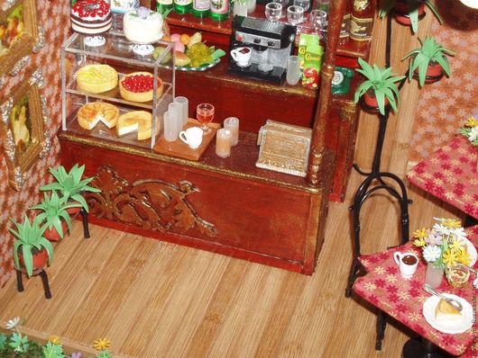 """Кукольный дом ручной работы. Ярмарка Мастеров - ручная работа. Купить Румбокс """"Кафе"""". Handmade. Кукольный дом, полимерная глина"""