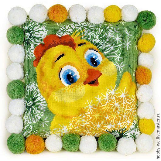 Вышивка ручной работы. Ярмарка Мастеров - ручная работа. Купить Набор для вышивания подушка Цыпленок, Риолис. Handmade. Ярко-зелёный