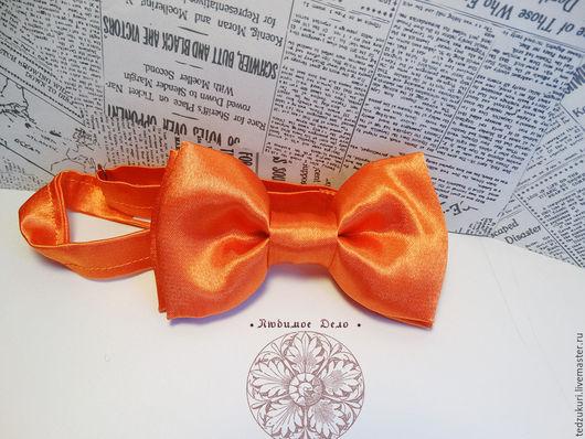 Галстуки, бабочки ручной работы. Ярмарка Мастеров - ручная работа. Купить Галстук-бабочка Оранжевая /однотонная бабочка /классическая рыжая бабо. Handmade.