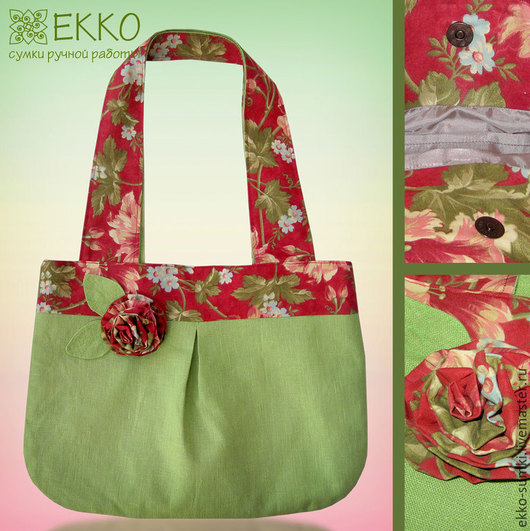 """Женские сумки ручной работы. Ярмарка Мастеров - ручная работа. Купить Сумка """"Цветущий сад"""". Handmade. Зеленый, льняная сумка"""