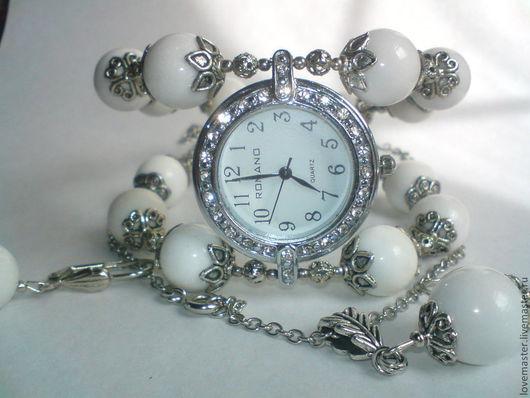 Часы ручной работы. Ярмарка Мастеров - ручная работа. Купить Часы браслет с белым Агатом+серьги и кулон. Handmade. Белый