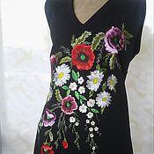 Одежда ручной работы. Ярмарка Мастеров - ручная работа Вышитое женское нарядное платье вышивка гладью шелк. Handmade.