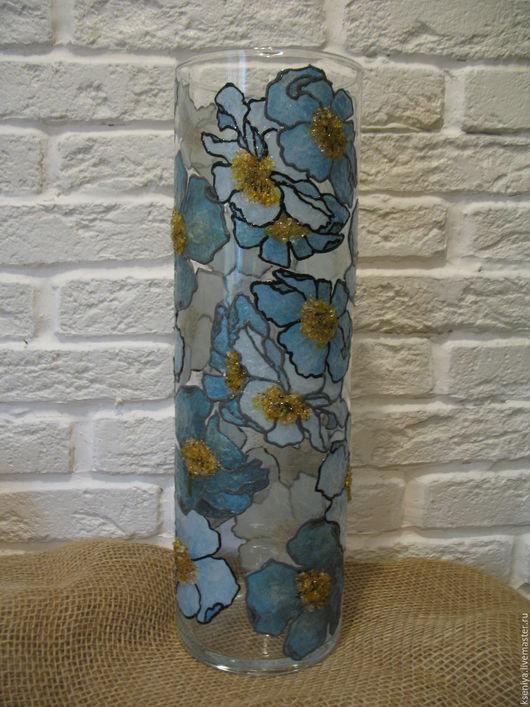 """Вазы ручной работы. Ярмарка Мастеров - ручная работа. Купить Ваза """"Синие цветы"""". Handmade. Ваза, ваза стеклянная купить"""