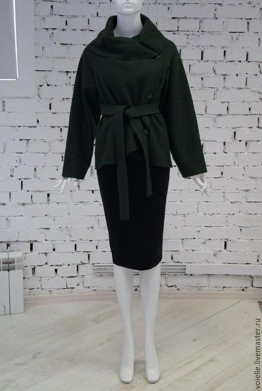 жакет валяный темно-зеленый из вареной шерсти, куртка темно-зеленая, куртка валяная, асимметричная, куртка милитари, накидка из лодена, накидка из шерсти, жакет пальто, жакет эффектный необычный