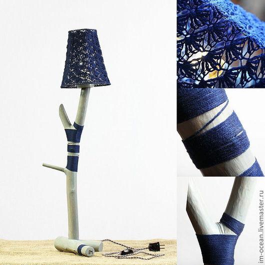Освещение ручной работы. Ярмарка Мастеров - ручная работа. Купить Настольная лампа / ночник. Handmade. Синий, ночник, дерево