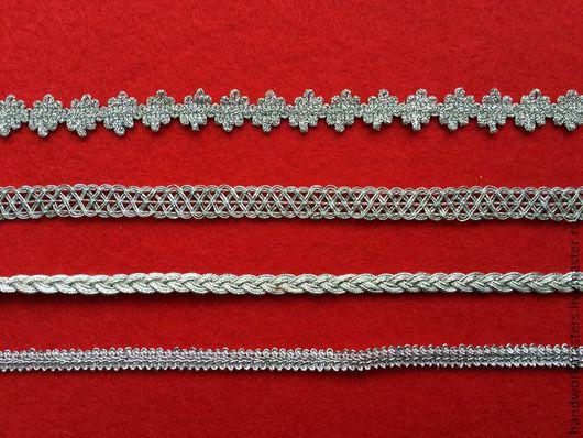 Декоративная тесьма для оформления новогодних подарков. Купить тесьму дешево. Цвет - серебро.