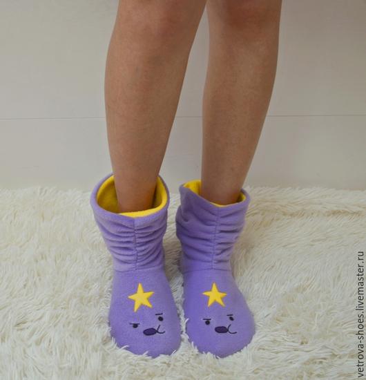 """Обувь ручной работы. Ярмарка Мастеров - ручная работа. Купить Домашние сапожки """"Принцесса Пупырка"""". Handmade. Сиреневый, принцесса, джейк"""