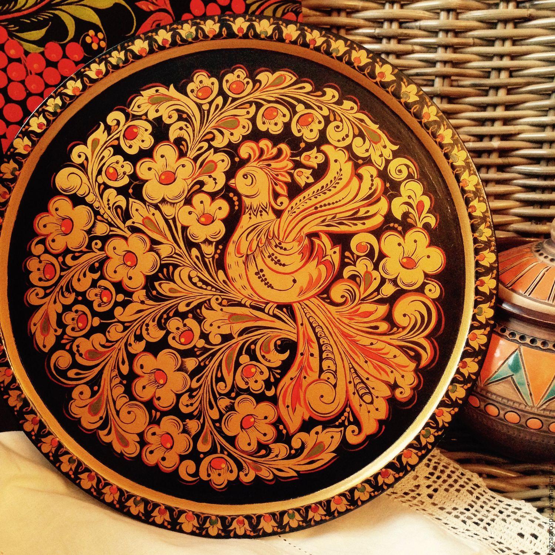 Тарелка - поднос деревянная с хохломской росписью Жар - Птица, Посуда, Москва,  Фото №1