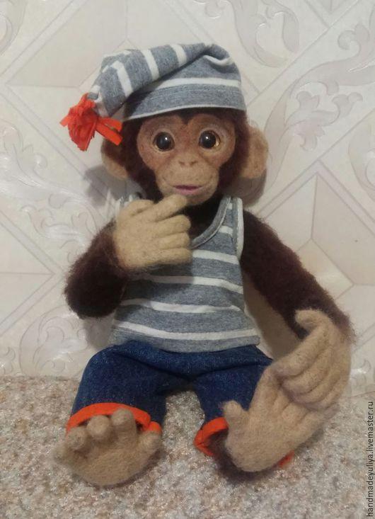 Игрушки животные, ручной работы. Ярмарка Мастеров - ручная работа. Купить Шимпанзе Мики. Handmade. Коричневый, символ 2016 года