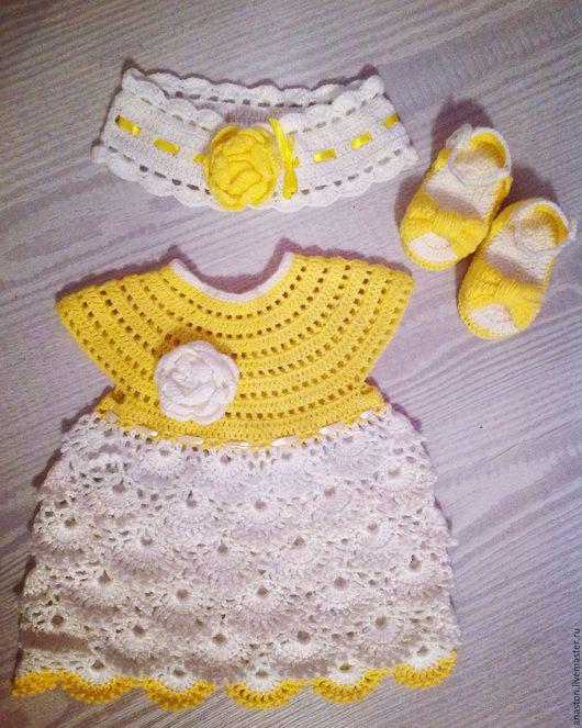 Одежда для девочек, ручной работы. Ярмарка Мастеров - ручная работа. Купить Коплект для девочки 2-3 месяца. Handmade. Лимонный