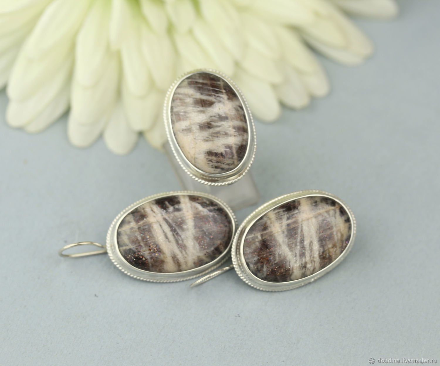 Set with a sun stone. Silver, Jewelry Sets, Moscow,  Фото №1