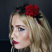Украшения handmade. Livemaster - original item Bezel leather rose with buds. Decoration for hair.. Handmade.