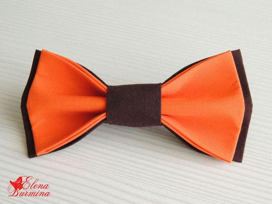 Галстуки, бабочки ручной работы. Ярмарка Мастеров - ручная работа. Купить Бабочка галстук апельсиново-коричневая 2 шт., хлопок. Handmade.