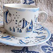 """Посуда ручной работы. Ярмарка Мастеров - ручная работа чайная пара """"Синие рыбки"""". Handmade."""