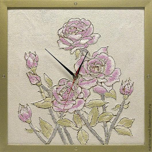 """Часы для дома ручной работы. Ярмарка Мастеров - ручная работа. Купить """"РОЗЫ"""" из песка часы авторские. Handmade. Бежевый, песок"""