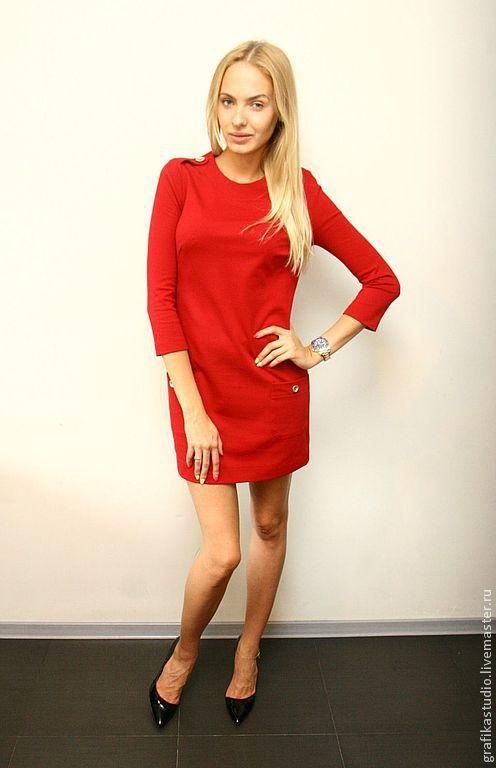 Платья ручной работы. Ярмарка Мастеров - ручная работа. Купить Мини платье из джерси красное. Handmade. Бордовый, мини, трикотаж