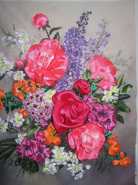 Картины из цветов из атласных лент фото 108