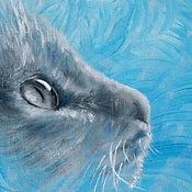 Картины и панно ручной работы. Ярмарка Мастеров - ручная работа В цветном узоре.  Нежный голубой (15 х 15 см). Handmade.