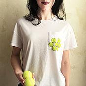 Одежда handmade. Livemaster - original item T-shirt white free pocket tennis balls. Handmade.
