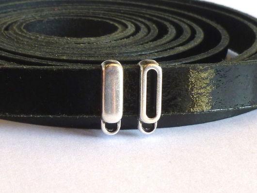 Для украшений ручной работы. Ярмарка Мастеров - ручная работа. Купить Бейлы для плоского шнура. Handmade. Серебряный, бусина для браслета