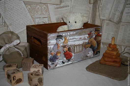 """Детская ручной работы. Ярмарка Мастеров - ручная работа. Купить Короб для игрушек """"Лепим снеговика"""". Handmade. Короб, снеговик"""