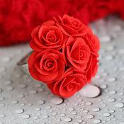 """Украшения ручной работы. Ярмарка Мастеров - ручная работа """"Алые розы""""  кольцо. Handmade."""