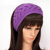 Аксессуары handmade. Livemaster - original item Headband with a braid, knitted on the hair Purple. Handmade.