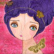 Картины и панно ручной работы. Ярмарка Мастеров - ручная работа Картина Butterfly Lady. Handmade.