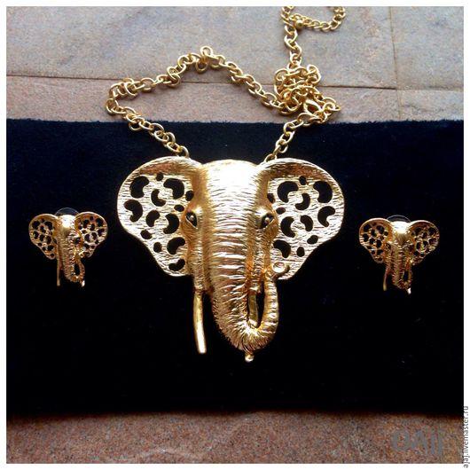 Винтажные украшения. Ярмарка Мастеров - ручная работа. Купить Комплект Слоны винтажный. Handmade. Золотой, позолоченная фурнитура, винтажные украшения