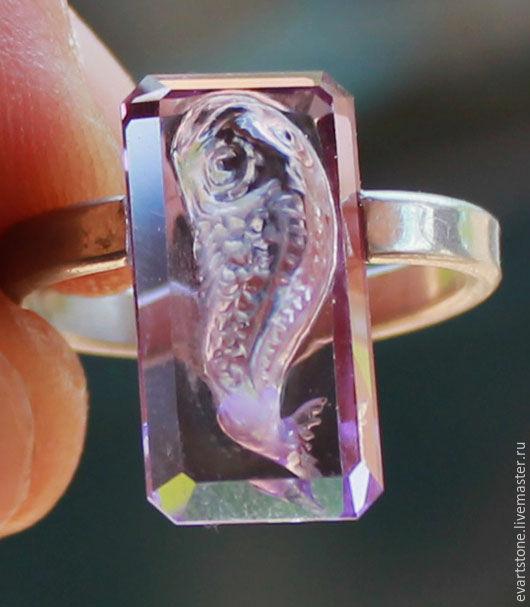 Кольца ручной работы. Ярмарка Мастеров - ручная работа. Купить аметистовая рыбка. Handmade. Фиолетовый, резной камень, перстень с камнем