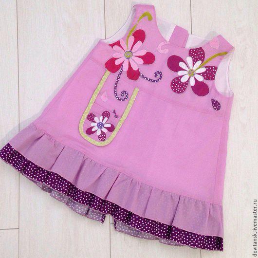 Одежда для девочек, ручной работы. Ярмарка Мастеров - ручная работа. Купить Детское платье  для девочки сцветами. Handmade. Детское платье