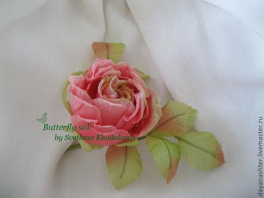 Броши ручной работы. Ярмарка Мастеров - ручная работа. Купить Чайная роза бутоньерка. Handmade. Бледно-розовый, брошь