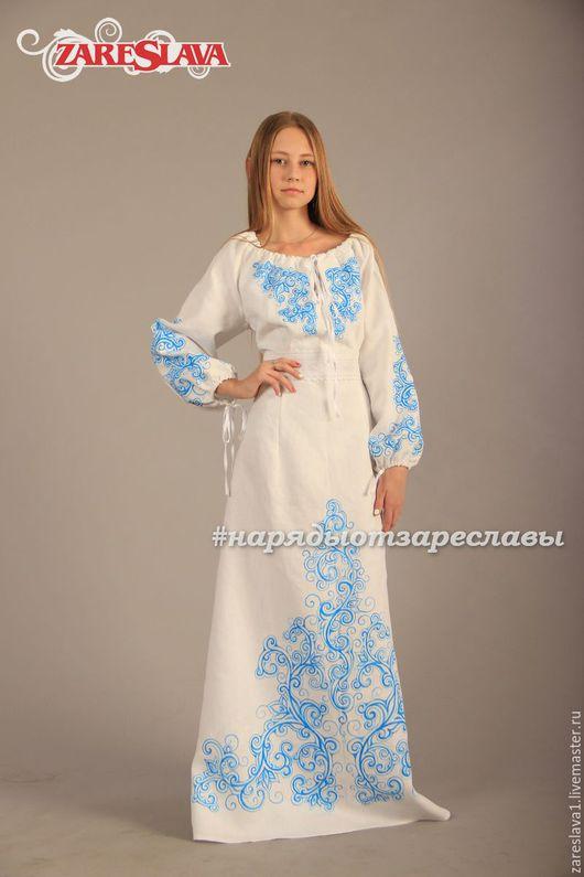 Платья ручной работы. Ярмарка Мастеров - ручная работа. Купить Платье для Анжелики. Handmade. Белый, платье русское, льняное платье