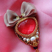 Украшения handmade. Livemaster - original item Brooch the Fire of my Heart With silk bow and ruby. Handmade.
