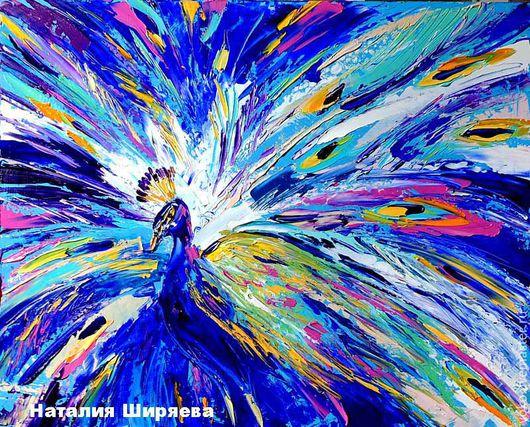 """Животные ручной работы. Ярмарка Мастеров - ручная работа. Купить """"Птица Счастья Завтрашнего Дня"""" картина маслом павлин. Handmade."""