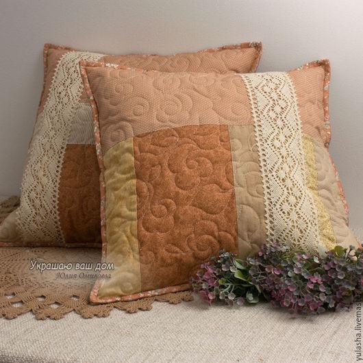 Красивая подушка в подарок на 8 Марта, день рождения. Подушка пэчворк. Авторский текстиль для дома. Подушка ручной работы. Набор, декоративные наволочки. Подушка для декора. Для спальни. Уютный дом.