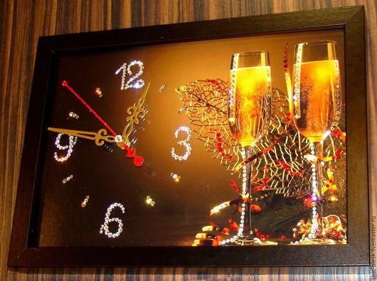 Новый год 2017 ручной работы. Ярмарка Мастеров - ручная работа. Купить Часы со стразами Swarovski. Handmade. Комбинированный