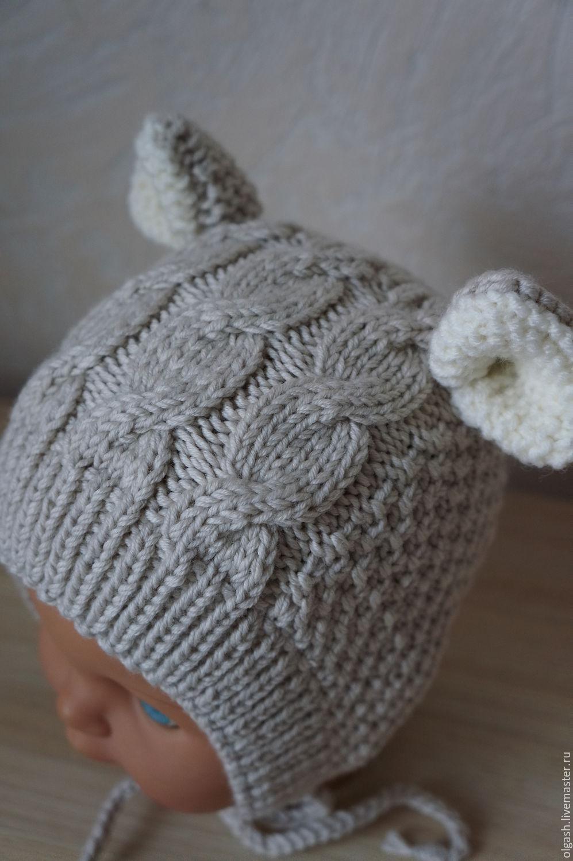 Вязание шапочки с ушками для новорожденного мальчика 41
